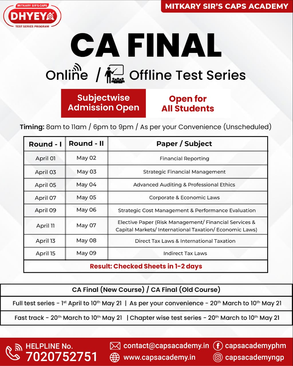 CA Final Test Series Time Table